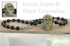 Antonio's gemstone skull necklace