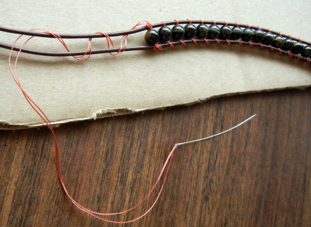 how to stitch a wrapped leather bracelet