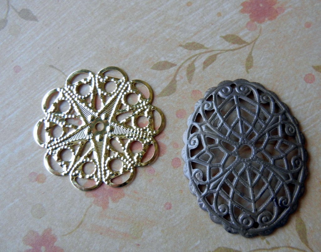 Heat patina raw brass filigree