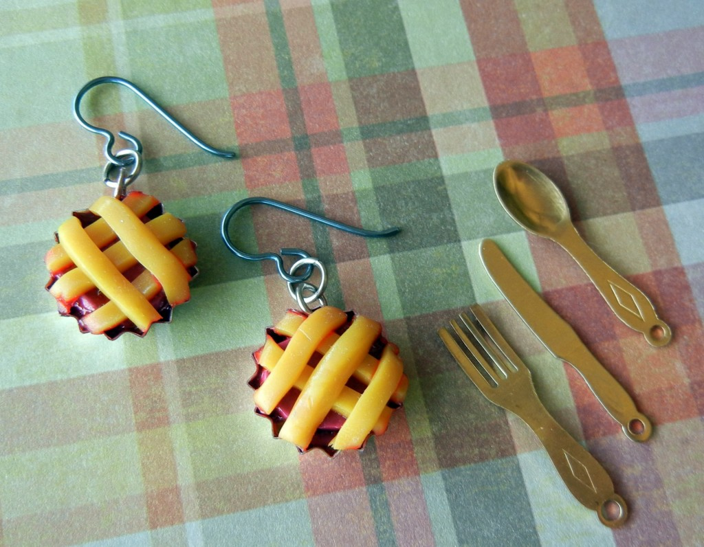 polymer clay cherry pie earrings