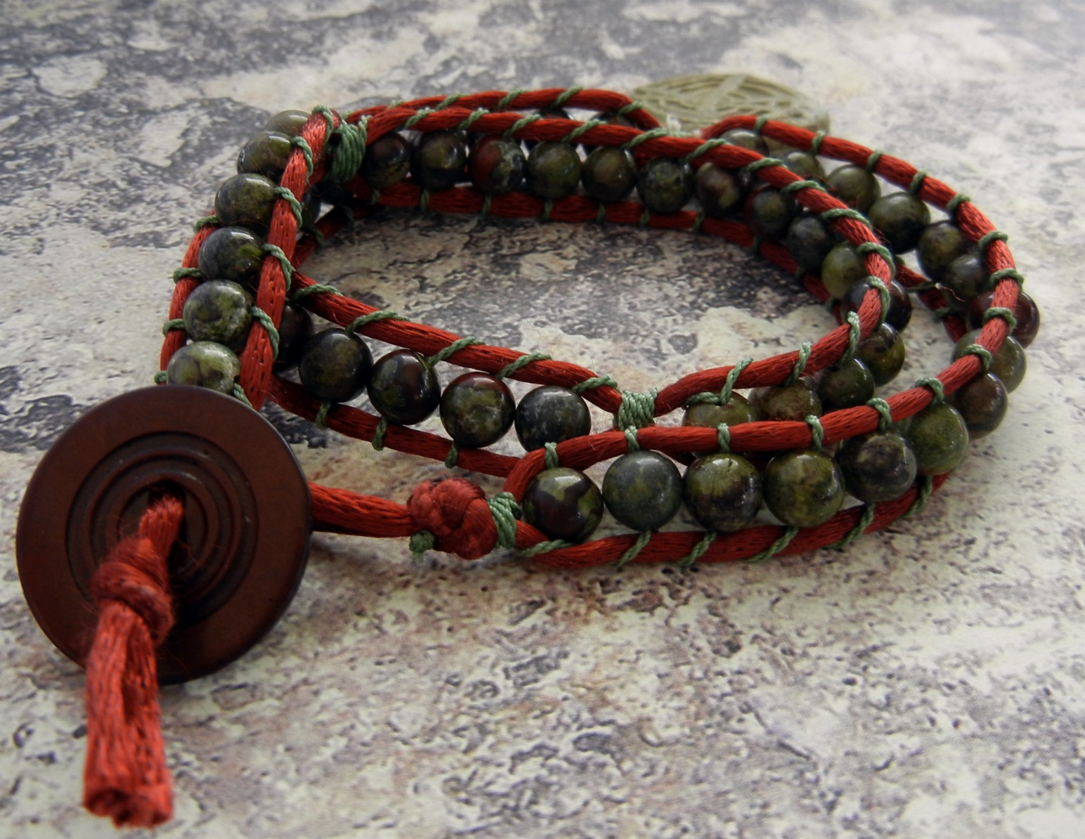 Wrapped Gemstone Bracelet With Rattail Instead Of Leather