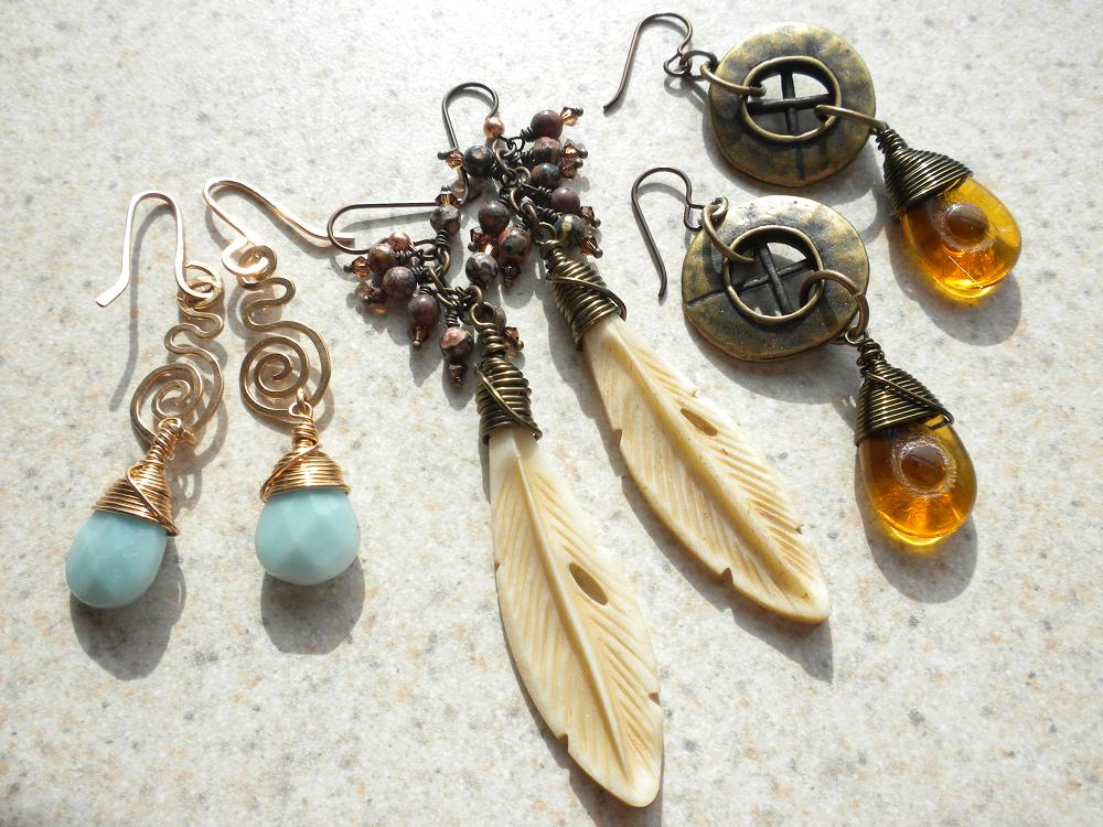 Wire-wrapped Feather Bone Pendants, Amazonite Briolettes with Bronze wire, and Czech Glass Teardrops with antique bronze buttons from the craft store!