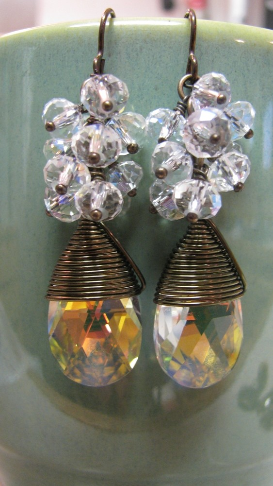 Wire-wrapped Aurora Borealis Swarovski Crystal Pear Briolette earrings