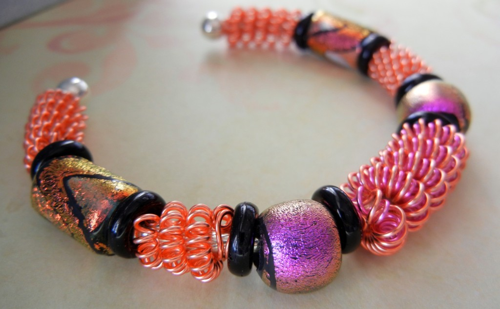 Coiled Artistic Wire bracelet with dichroic glass