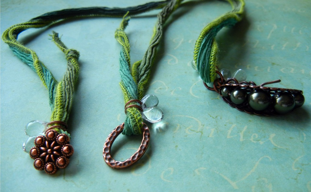 Silk ribbon necklaces how to finish the ends rings and for Ribbon tie necklace jewelry