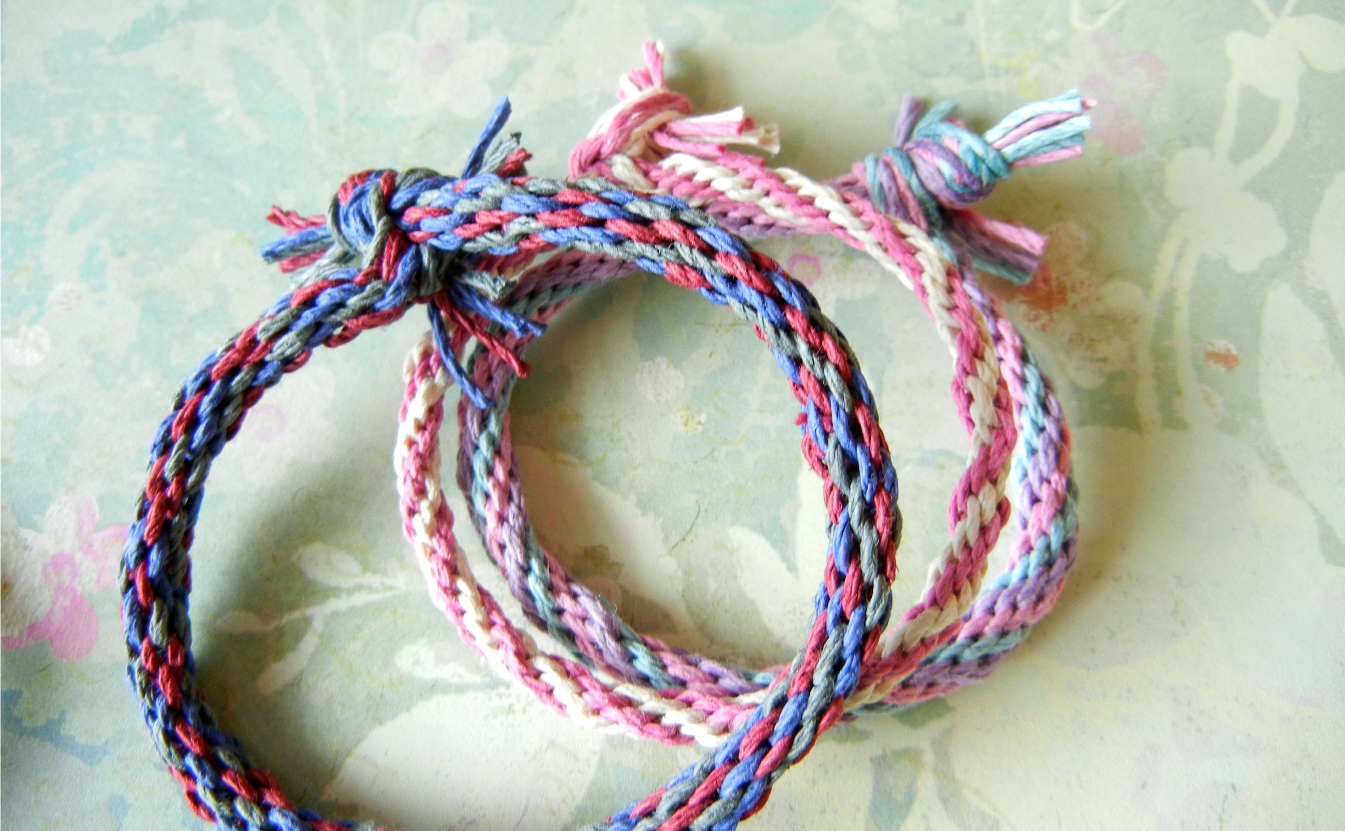 Kumihimo hemp friendship bracelets