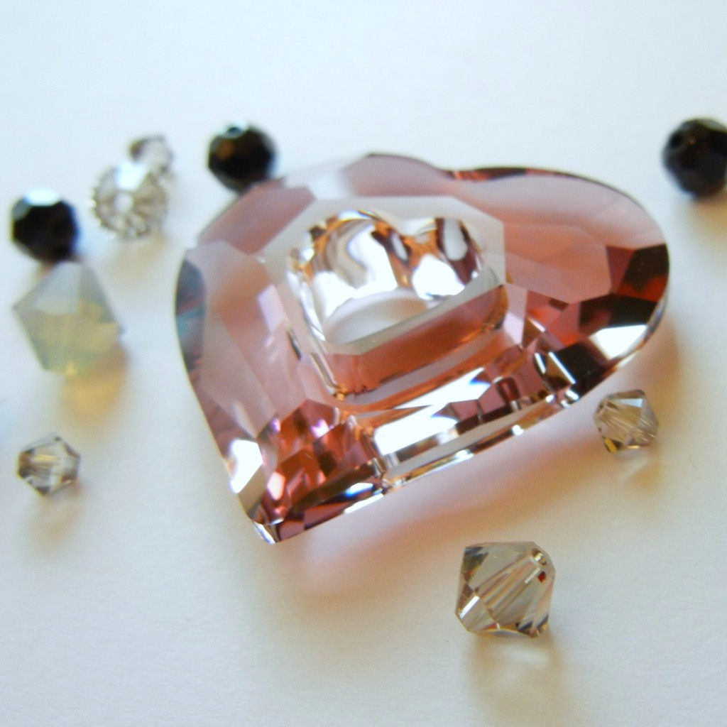 antique pink crystal beads with gray
