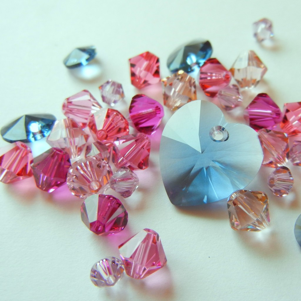 Pink pops next to denim blue crystals