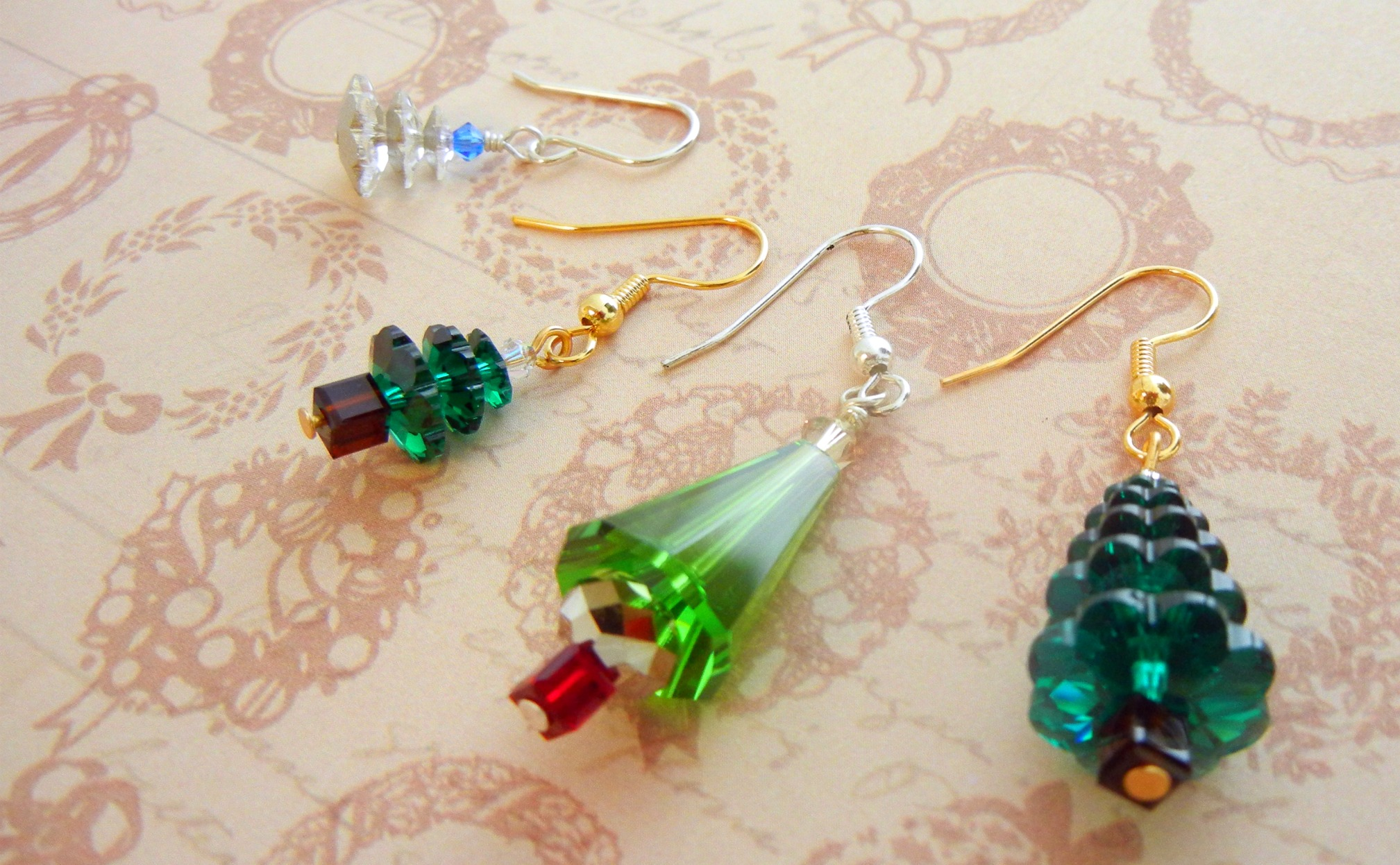 jewelry bead superduo pattern earrings tree christmas necklace