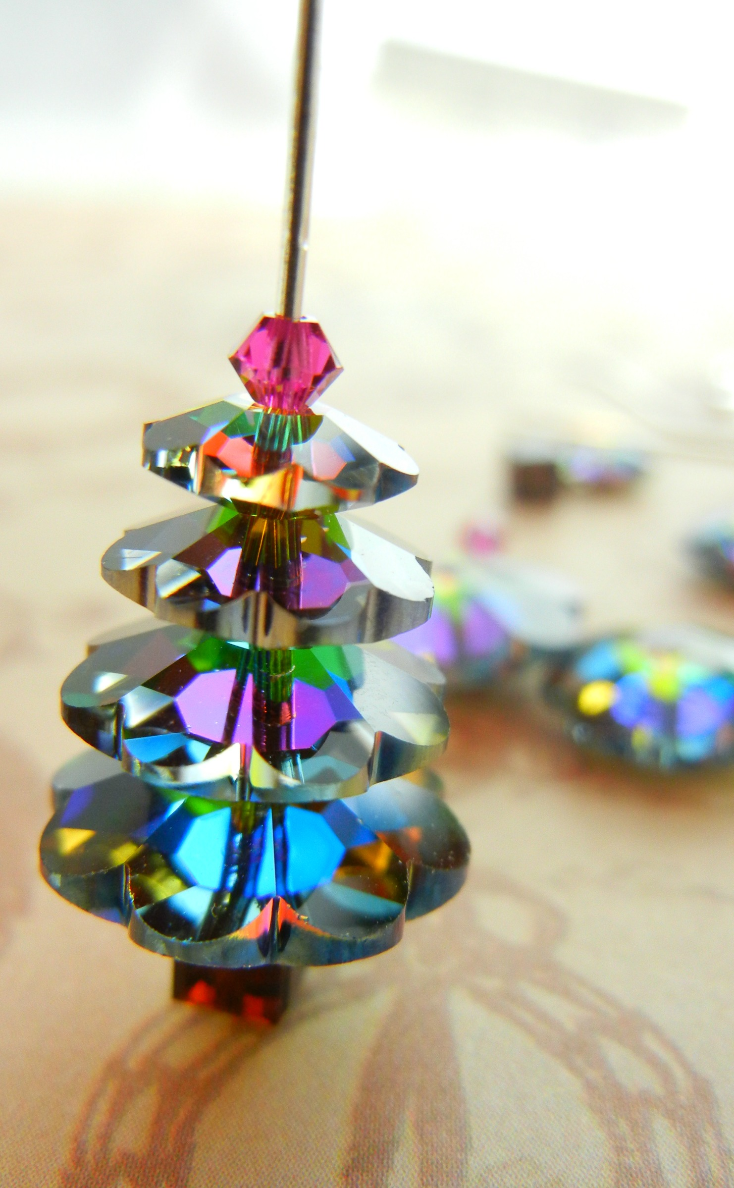 Glass Christmas Tree With Ornaments Miniature
