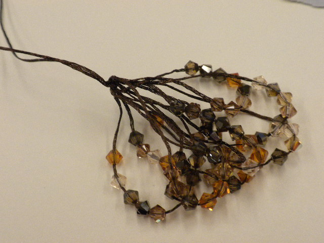 Step 7 - How to make a Wire Lace and Swarovski crystal tassel.