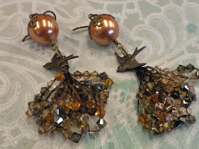 Finished Tassel Earrings, made with shell pearls, wire lace, large Vintaj bead caps, Vintaj bird charms and niobium earring wires.