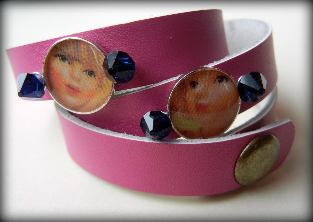 pink-leather-resin-bracelet