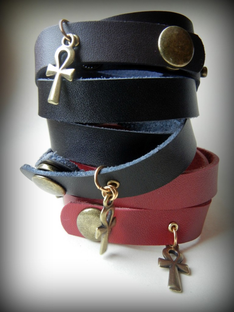 wrapped-in-ankhs-rings-things sondra barrington leather ankh bracelets