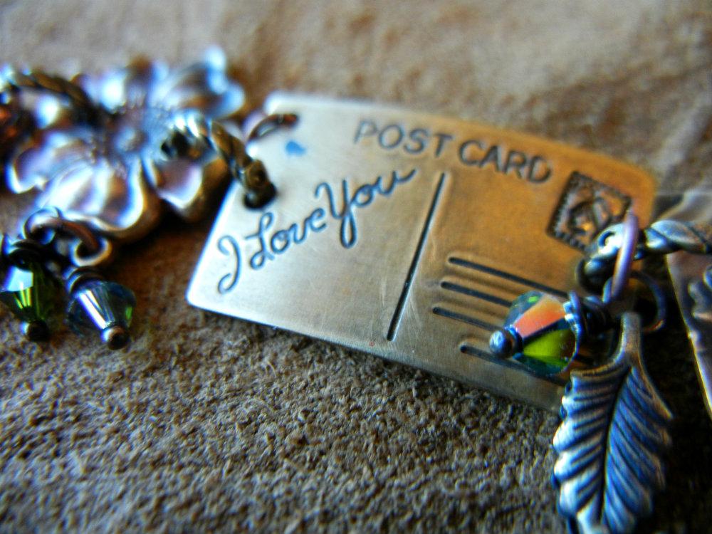 postcard-bracelet sondra barrington vintaj swarovski pressed penny