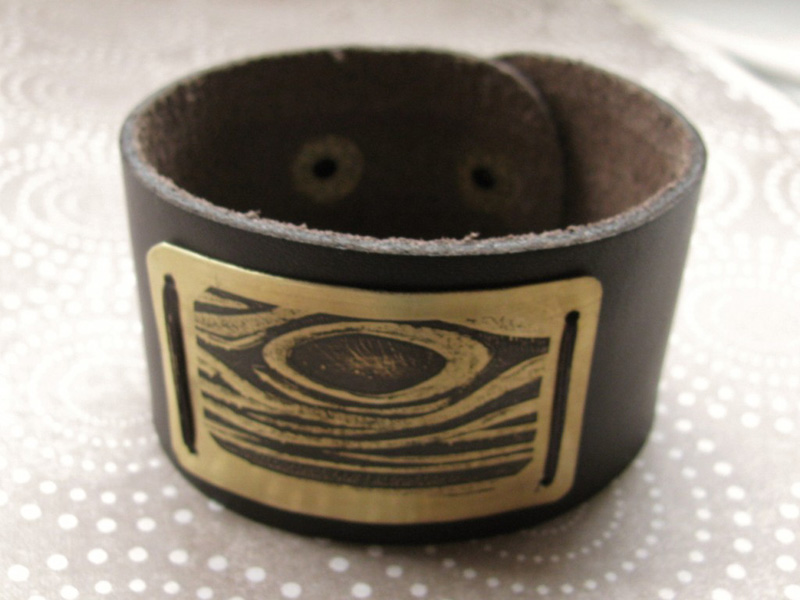 manly cuff bracelet with etched brass