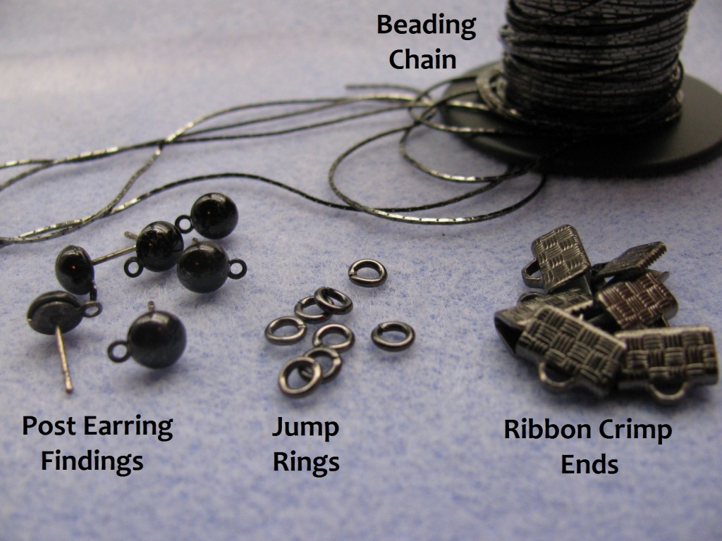 Supplies to make chain tassel earrings: Beading chain, post earring findings, jump rings, ribbon crimp ends