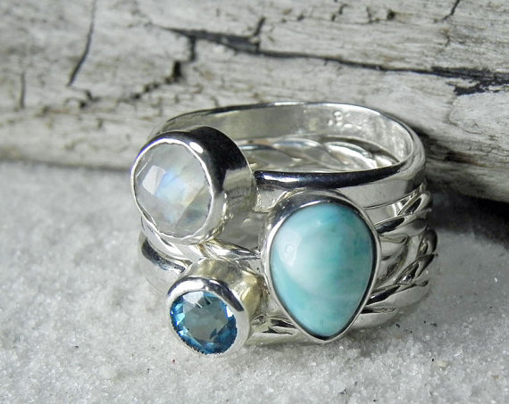 I love these stacking rings featuring Larimar, Topaz and Moonstone. These fabulous, handmade rings are by Liz of Fanta Sea Jewelry
