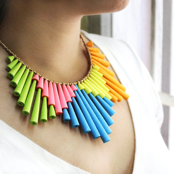 I love this Neon Bib Necklace by Devi Chand of HippieKingdom. It is made from handmade paper beads.