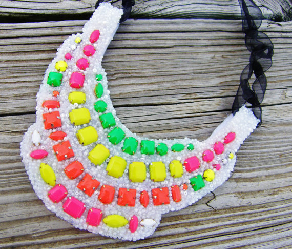 This neon bib necklace is so chic! It is made by jewelry artist Kelly M of KRM Jewel.