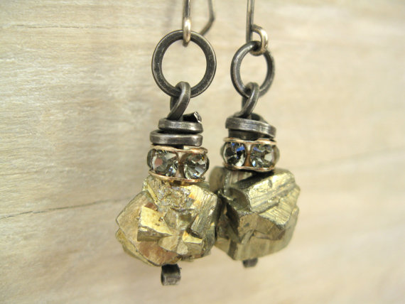 Pyrite is one of my favorite stones in the rough, and I especially love these pyrite and Swarovski earrings by  Sadena of Primrose and Scout Jewelry.