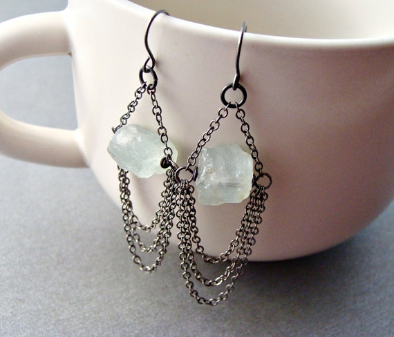 I love the combination of the natural aquamarine and the industrial chain in these earrings by Jillian of Nooni Jewelry
