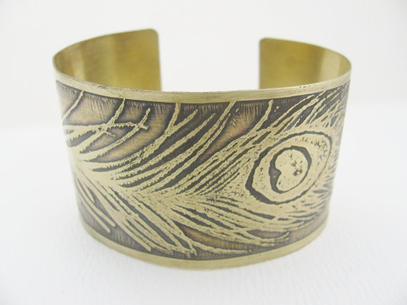 This brass cuff bracelet is from my store, Geisha Creations. I made it using an acid etching technique.