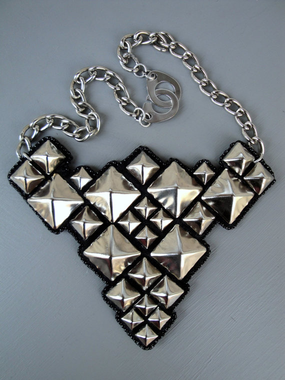 How fabulous is this modern bib necklace? It can be found in Nim's store, Lucky Twin.