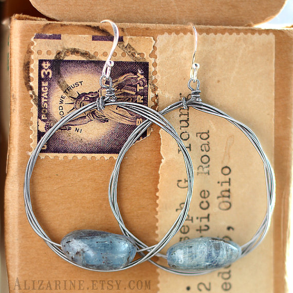 These kyanite earrings ear stung on guitar wire. I love the rustic feel of them. They can be found in Andi's etsy store, Alizarine