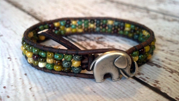 I love how this bracelet Kate Greenwood of PZW Design uses stacked rondelles instead of the typical round bead. Plus how cute is that elephant button!