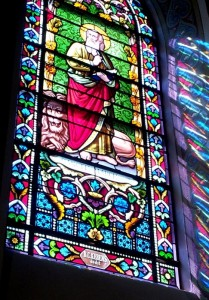 A beautiful stained glass window in the Cathedral Basilica of St. Francis of Assisi