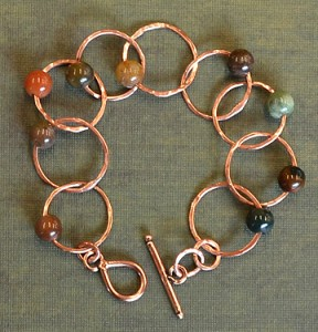 Bracelet - Soldered Copper Links with Fancy Jasper Beads