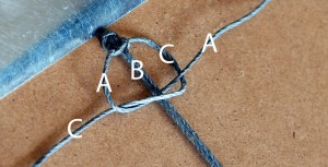 Image of making a square knot from the left.
