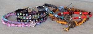 A variety of macrame bracelets.