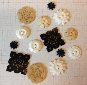 Assortment of Bone Buttons in various colors.