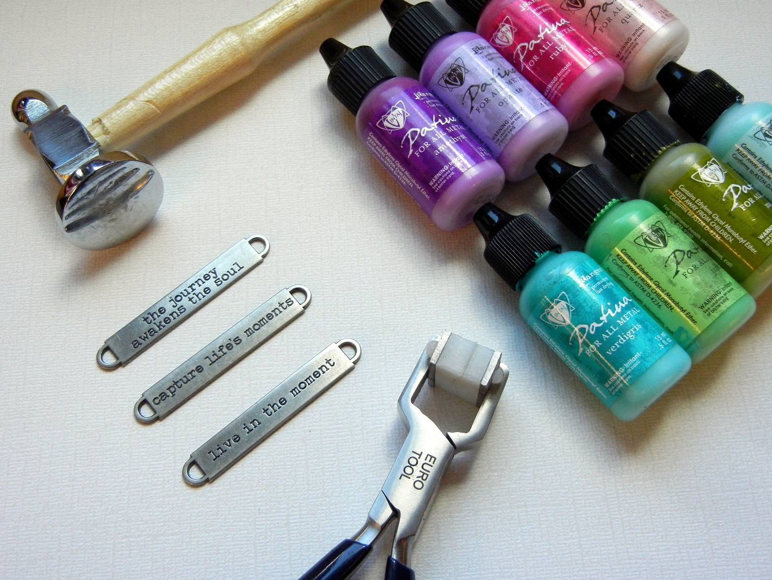 You will need these tools and supplies to make a Tim Holtz idea-ology bracelet blank.