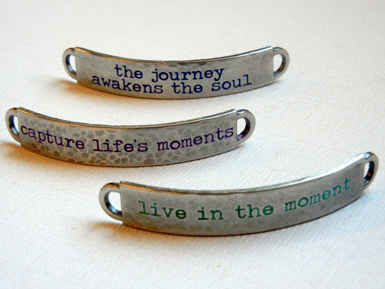 "Use Tim Holtz idea-ology® word blanks to create ""handmade"" stamped bracelet blanks."