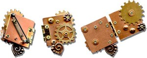 "Fidget (hinged book pin) made with 1/16"" eyelets and rivets"