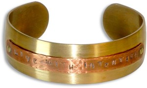 Live with Intention - Cuff Bracelet (made with domed piercing base and reverse riveting accessory)
