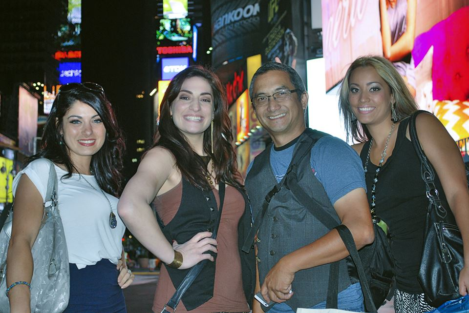 Some of the team hanging out at Times Square. From left to right, model Mandy Vahlkamp, clothing designer Alyssah Perez, photographer Eric Barro, and model Amanda Hillmann,