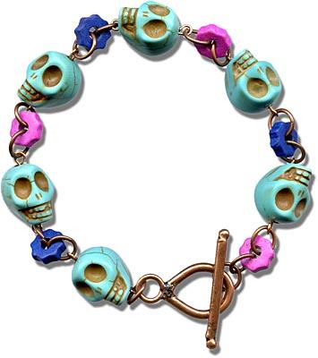 Gemstone skull bracelet.