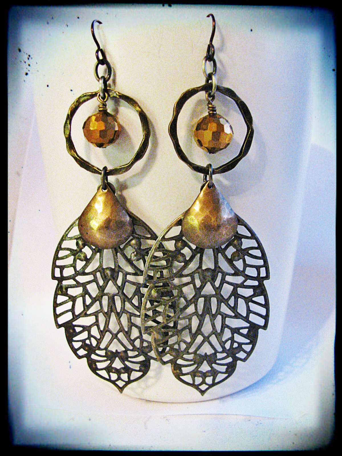 These earrings were made with jumbo brass filigree leaves. And though they are large, they are quite lightweight.