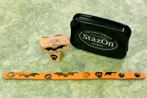 Leather bracelets and StazOn ink make fast and scarey projects.