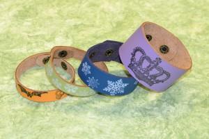 DIY rubber stamped leather bracelets