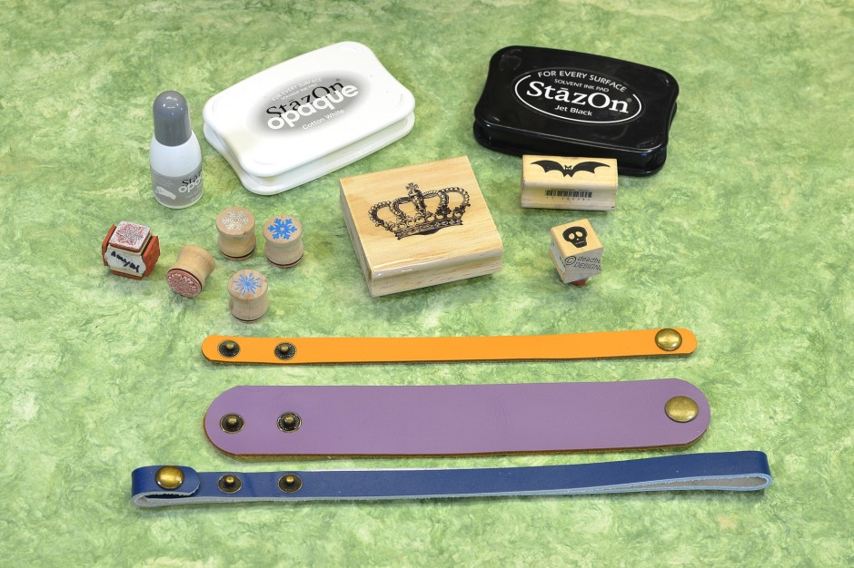 Supplies for DIY stamped leather bracelets