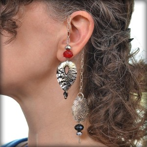 Bollywood style ear cuff made with chain, beads, and baubles.