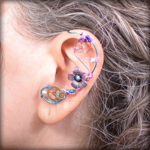 Wire Wred Ear Cuff Made With Genuine Watch Gears
