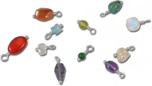 Add-a-dangle using faceted, round, cube and other shaped gemstones!  This free DIY custom memory necklace project by Sondra Barrington of www.rings-things.com features sterling silver, swarovski crystal, gemstones and personalized charms.