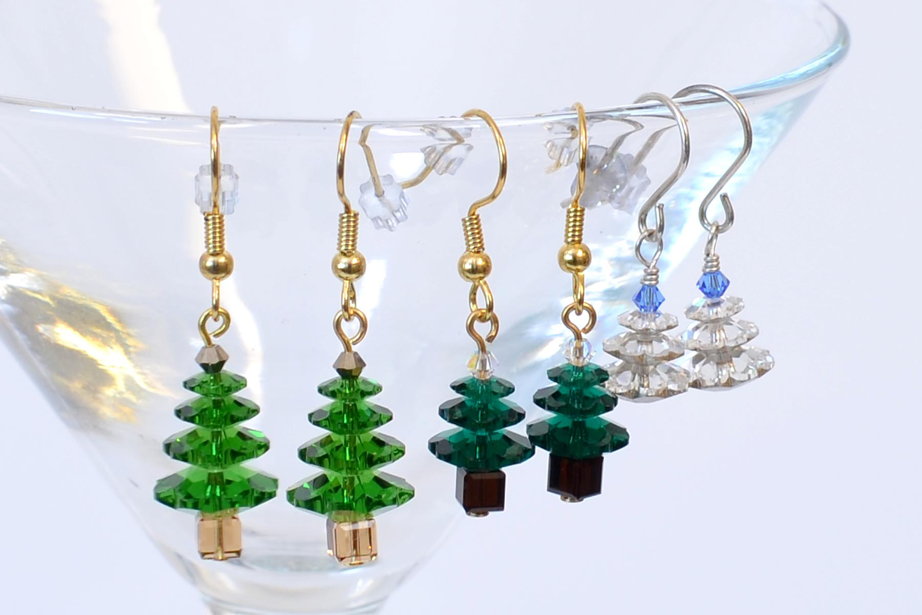 christmas earrings brown tree with crystal gold crystals effect xmas sparkling coloured