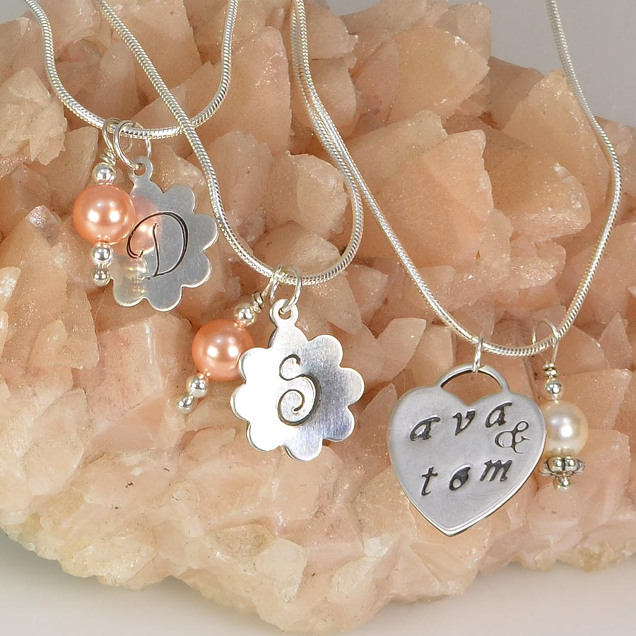 How to make personalized stamped charms rings and things pendants for the bride and bridesmaids are elegant jewelry as well as keepsakes that will mozeypictures Gallery